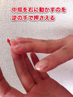 中指を右に動かす
